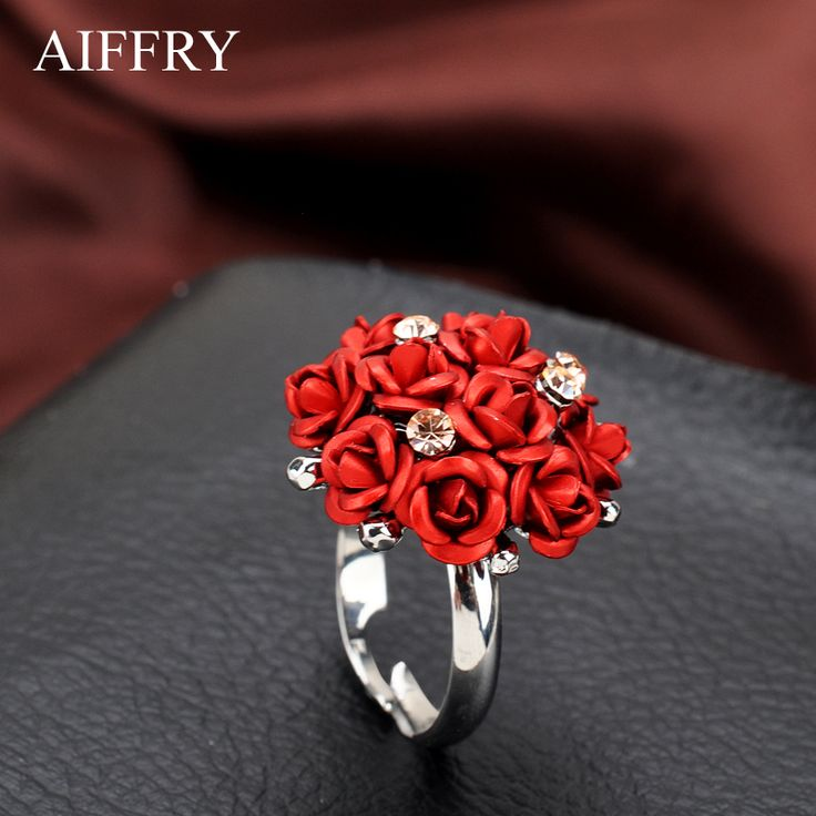 AIFFRY Fashion Wedding Engagement Rings For Women white Gold Plated 11 Rose Flower Jewelry Female Ring Bijoux Wholesale