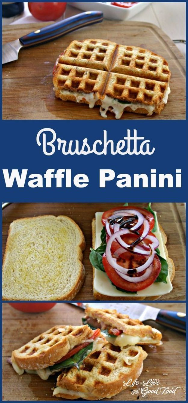 Waffle Iron Hacks and Easy Recipes for Waffle Irons - Bruschetta Waffle Panini - Quick Ways to Make Healthy Meals in a Waffle Maker - Breakfast, Dinner, Lunch, Dessert and Snack Ideas - Homemade Pizza, Cinnamon Rolls, Egg, Low Carb, Sandwich, Bisquick, Savory Recipes and Biscuits http://diyjoy.com/waffle-iron-hacks-recipes