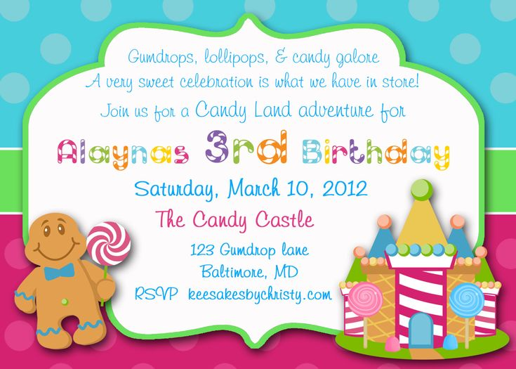 111 best Candyland invitations images – 11th Birthday Invitation Wording