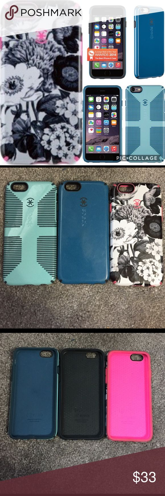 Three Speck iPhone 6 / iPhone 6s case bundle! Bundle of speck iPhone 6 cases. All used different amounts. The light blue one with the grips is the most used (has most damage). speck Accessories Phone Cases