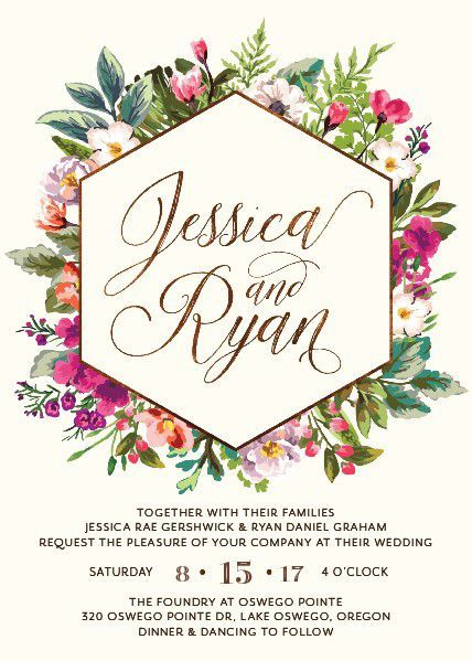 gorgeous modern floral wedding invitation
