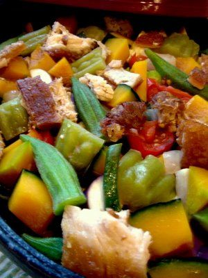 PINAKBET. The original Ilokano pinakbet uses bagoong, of fermented monamon/fish, while further south, bagoong alamang is used. The vegetables used include native bitter melon, eggplant, tomato, okra, string beans, chili peppers, parda, winged beans, and others. Root crops and some beans like camote, patani, kadios may be added. The young pod of moringa is also added. It is usually spiced with ginger, onions, or garlic. A Tagalog version includes calabaza. Lechon, chicharon, or pork is added.