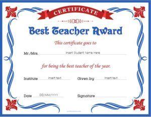 Best teacher award certificate template for MS Word DOWNLOAD at http://certificatesinn.com/best-teacher-award-certificates/