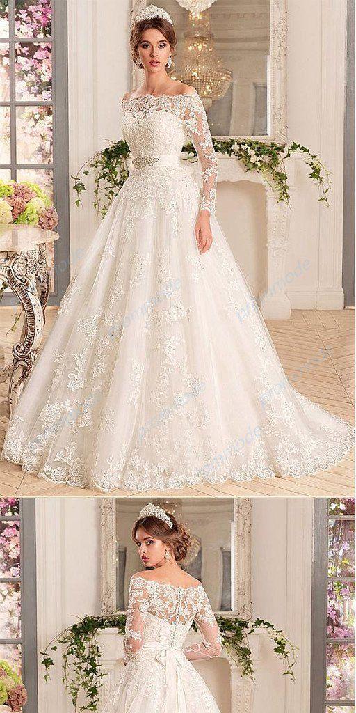 Satin off-the-Shoulder A-Linie Brautkleider mit Perlen & Spitzenapplikationen – Wedding