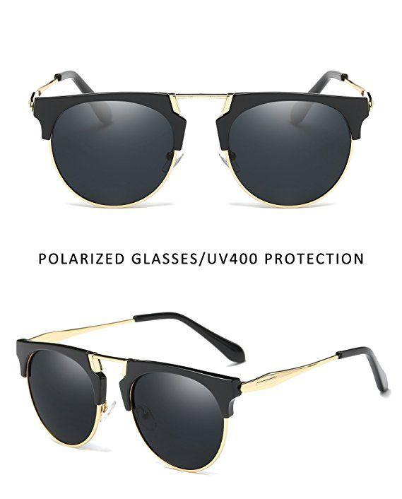 2047154ea7 Joopin Semi Rimless Polarized Sunglasses Women Men Retro Brand Sun Glasses ( Black (No Case Included)