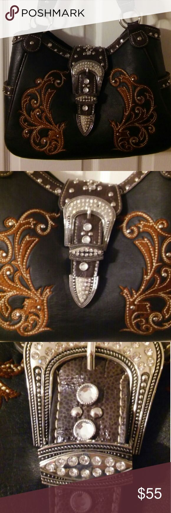 Western Style Leather w/Bling Purse Western Style Embroidered Leather with Bling Purse Bags Shoulder Bags