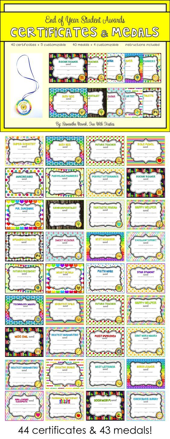 The 25 best award certificates ideas on pinterest award end of year or anytime student awards editable certificates medals xflitez Choice Image