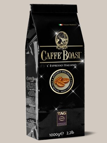 Caffè Boasi Riserva Speciale - Fine blend of pregnant body. Its exquisite acidity releases parfumes of berries and of raisins. This unique blend of natural coffee has a low caffeine content. IN BEANS PACKAGES: 1000 gr