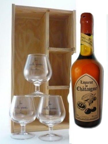 liqueur de chataigne en coffret bois et ses 3 verres degustation 70cl