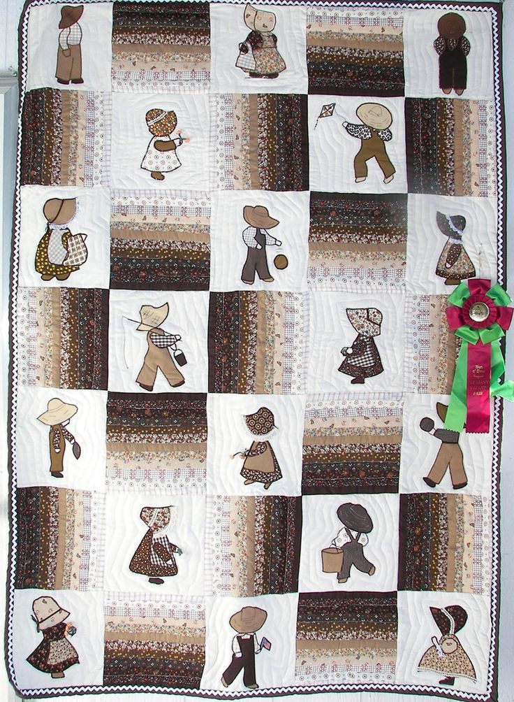 Sunbonnet Sue & Overall Sam in Brown. Grandma made me one of these in pink, I still have it.