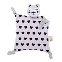 In a Kippiny treehouse, a pink cat shares milk and hugs with friends - the finest of things. Her name is Kitty Kippin.  Pink and white cat comforter baby toy with love heart print and soft grey back.  Kippins are designed using simple, bold prints that new babies love! They're hypoallergenic and gentle on new skin – perfect for hugs and play. Let them take you to Kippi – a magical place that exists in the moments just before you fall asleep.   Printed using organic inks - spots, dots ...