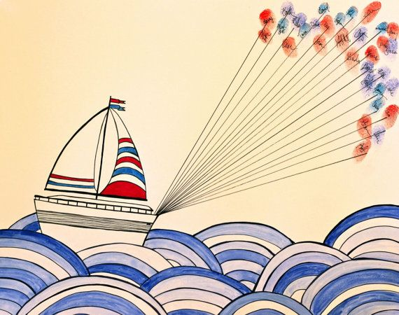 Hand Drawn Watercolor Sail Boat in Ocean with by DovDesigns