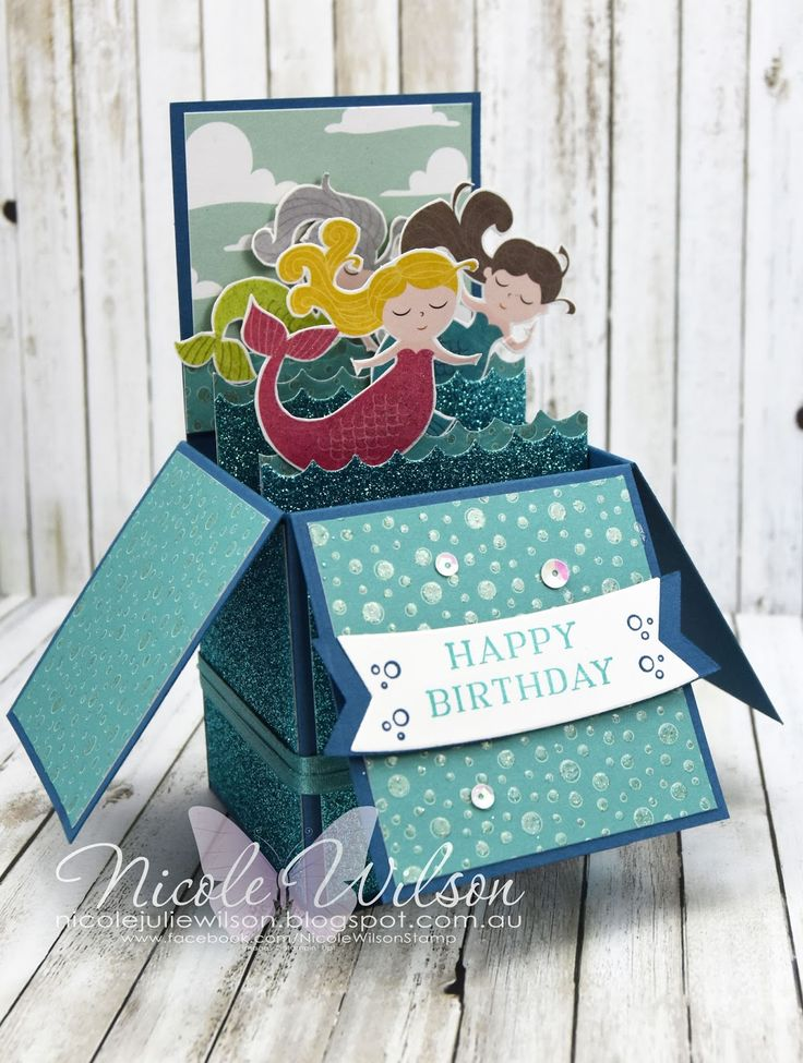 Nicole Wilson Independent Stampin' Up!® Demonstrator - SU orphaned demos blog hop - Myths and Magic, Mermaid Box Card using shimmer ribbon from Saleabration #stampinup #birthday #boxcard #mermaid #occasions