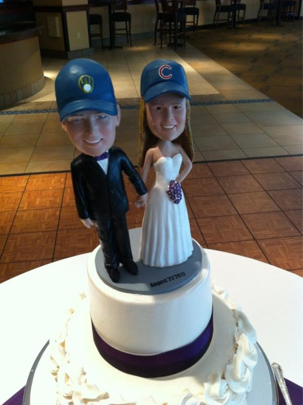 See? #Brewers fans & #Cubs fans can get along! Congrats to Allie & Dan Olsen who celebrated with us at Miller Park!: Cubs Fans, Miller Parks, My Cousins, Brewers Fans, Cakes Toppers, Fans Cubs, Boss Guys, Cubs Hats But, Swap Helmets