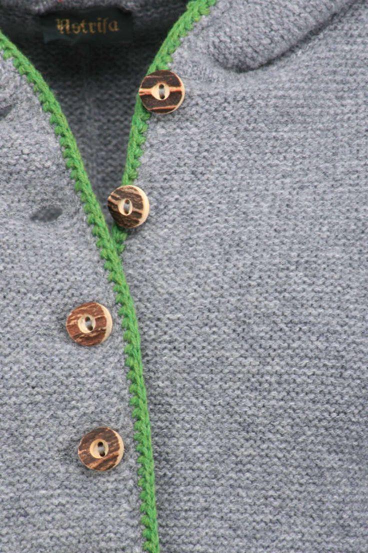 Trachten Strickjacke mit Kapuze grau-grün Bild 2