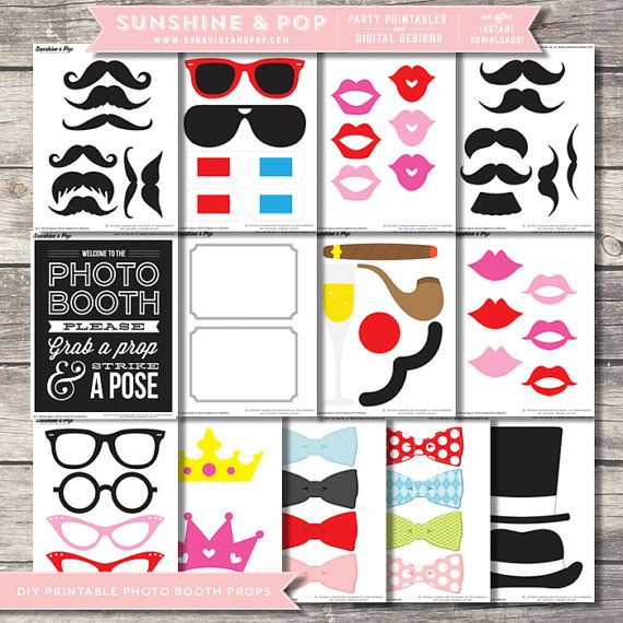 Sale - INSTANT DOWNLOAD - DIY Printable Photo Booth Props - Printable Photobooth - Mustache party printable photobooth sign wedding prop