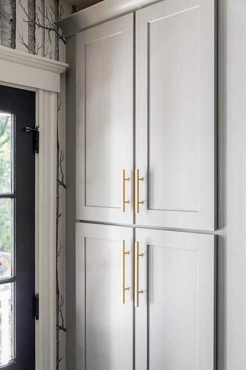 lowes pantry cabinet kitchen gorgeous features gray cabinets painted cape may cobblestone adorned brass pulls cupboard designs sri lanka design ide