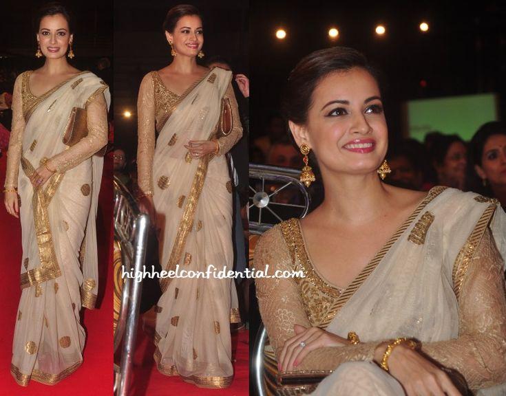 Dia Mirza looking golden in Ritu Kumar Saree