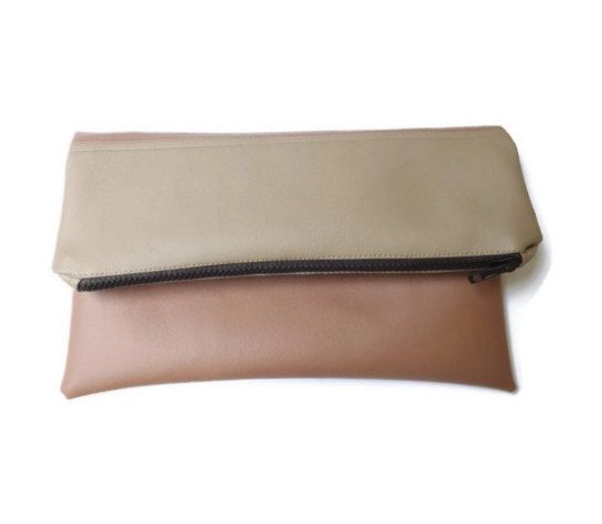 Colorblock purse zippered clutch foldover clutch by Monalinebags