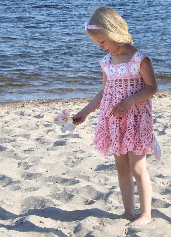 Crochet Summer Dress with Purse and Headband ,  Beach Dress , Flower girls dress , Toddler Dress , Crochet Pattern