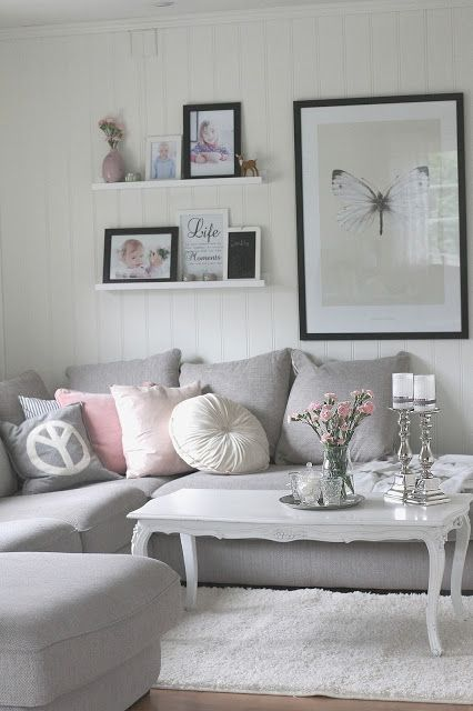Grey sofa and pastel accents