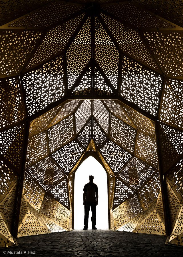 Incredible structure created with intricate patterns from organic and geometric shapes.