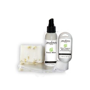 Helps with breakouts and acne. For individuals with oily skin throughout the day.      Includes:  Includes 2 Complexion Bars, Facial Brush, Toner Mist, and Acne Support Moisturizer.     Essential Ingredients:   Toner Mist: Witch Hazel, Aloe, Chamomile, Green Tea, Seaweed, Silk Proteins, and Vitamin E  Acne Support Moisturizer: Willow Bark Extract, Vitamin B5, and Vegetable Glycerin     Free from:     Phthalates, Dyes,  DEA, Parabens,  Aluminum, Petroleum, SLS, SLES  and Gluten