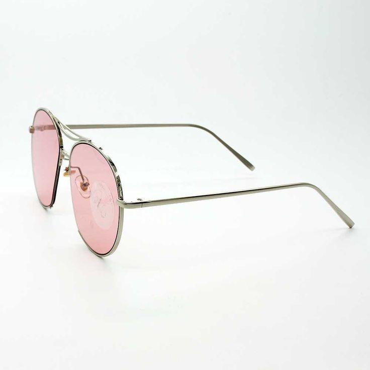 Retro Rounded Aviator Sunglass-Pink