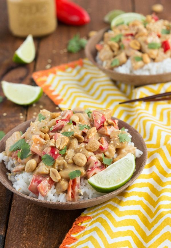 A simple, under 30 minute peanut sauce chicken stir-fry | chelsea's messy apron