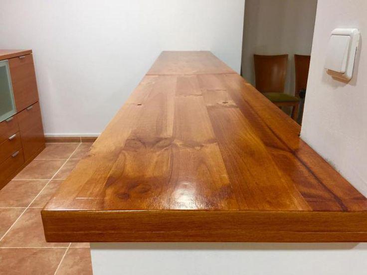 Encimera en madera color cerezo regruesada en 6 cm