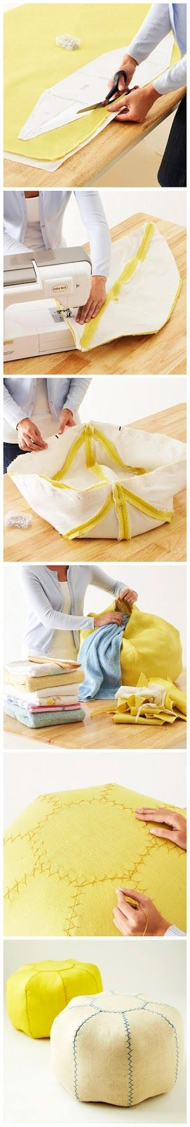 Make your own Pouf! I made own for my apartment and it was super easy! Just simple seams and ironing. If you cant find burlap another stiff ...