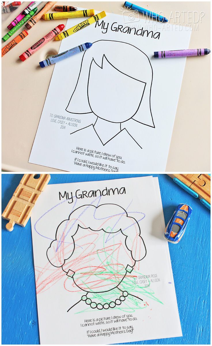 FREE Mother's Day coloring pages. A perfect Mother's Day gift from toddlers and pre-schoolers! Just print, color and give :) (Both Mom and Grandma pages available.)