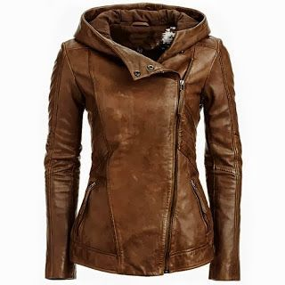 Brownish leather jacket wear for girls