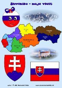 Slovensko moja vlasť, symboly - farebný pracovný list ABC materská škola