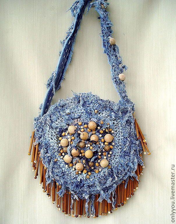 Купить Джинсовая сумка «Музыка ветра» - голубой, в горошек, хиппи, бохо-стиль, бохо-шик