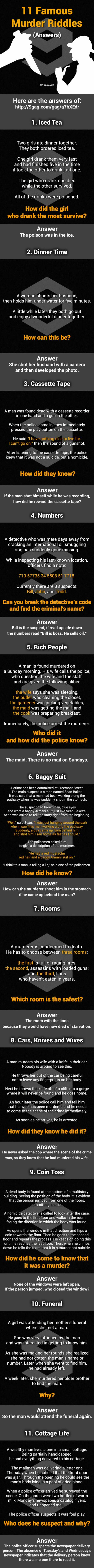 Answers: 11 Murder Mystery Riddles.mystery riddles  Can You Solve Them All?