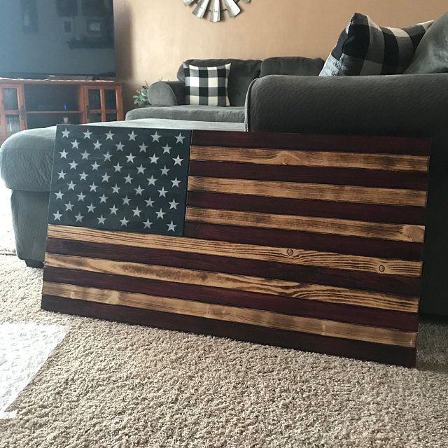 Large 19x36 Rustic Flag Wood American Flag Etsy In 2020 American Flag Wood American Flag Wall Decor Wood Flag