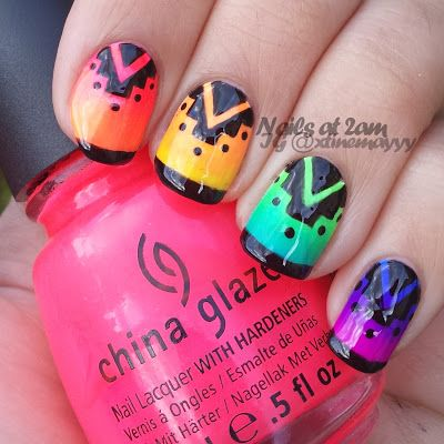 Nails At 2am: Neon gradient skittles with a black design!!!  Nice!!!