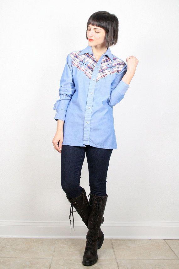 Vintage Western Shirt Cowboy Shirt Cowgirl by ShopTwitchVintage