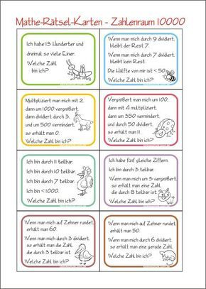 Zahlenrätsel-Karten - Zahl Gesucht - Rechnen im Zahlenraum 10000 - Kostenlose Mathematik Arbeitsblätter für die 4. Klasse Grundschule