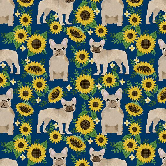 1 yard (or 1 fat quarter) of french bulldog sunflowers fabric floral dogs by designer petfriendly. Printed on Organic Cotton Knit, Linen Cotton Canvas, Organic Cotton Sateen, Kona Cotton, Basic Cotton Ultra, Cotton Poplin, Minky, Fleece, or Satin fabric.  Available in yards and quarter yards (fat quarter). This fabric is digitally printed on demand as orders are placed. Unlike conventional textile manufacturing, very little waste of fabric, ink, water or electricity is used. We print using…
