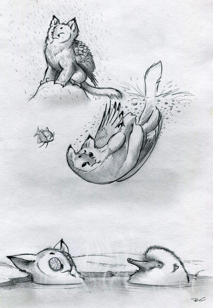 Owl Griffin Various Baths by RobtheDoodler.deviantart.com on @deviantART
