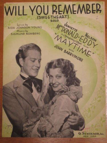 Will You Remember? 1937 G.Schirmer Sheet Music Jeanette McDonald and Nelson Eddy. #music #GSchirmer #vintage