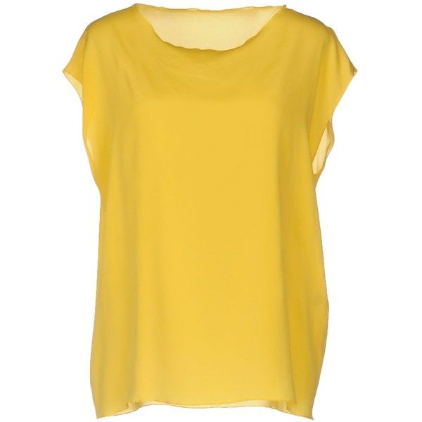 Anneclaire Blouse ($125) ❤ liked on Polyvore featuring tops, blouses, yellow, short sleeve blouse, yellow top, short-sleeve blouse, round collar blouse and short sleeve tops