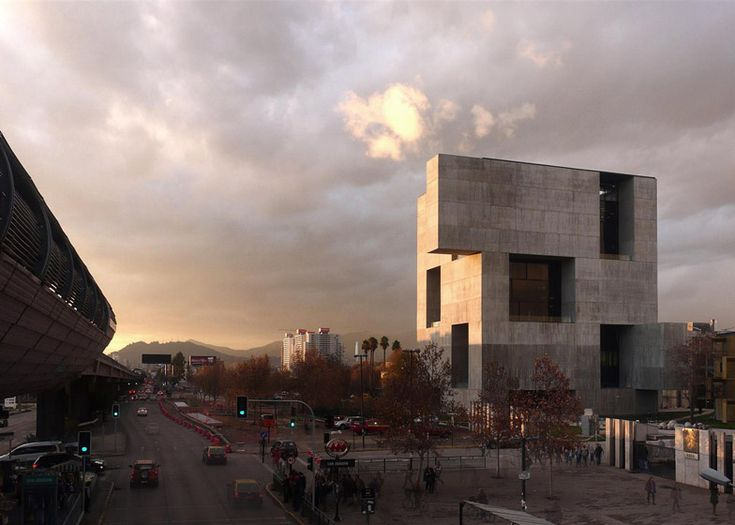 """Giant openings puncture this """"monolithic"""" concrete innovation centre."""