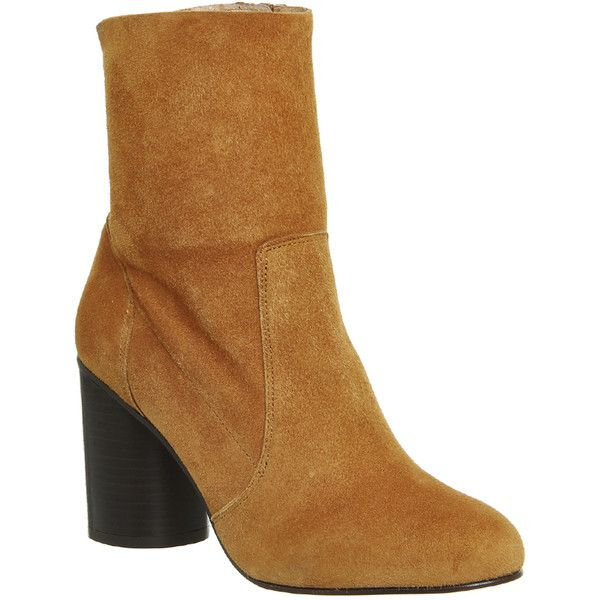Office Ida Cylindrical Heel Boots ($125) ❤ liked on Polyvore featuring shoes, boots, ankle booties, ankle boots, tan suede, women, suede boots, short boots, tan ankle booties and high heel boots