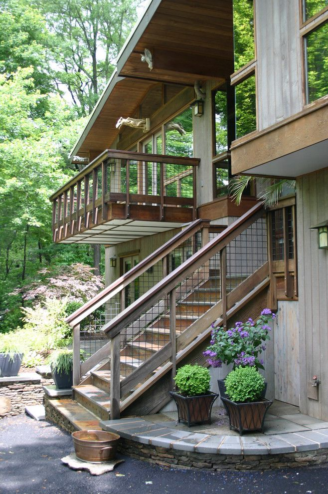 wire mesh deck railing Exterior Rustic with balcony eaves fish ponds