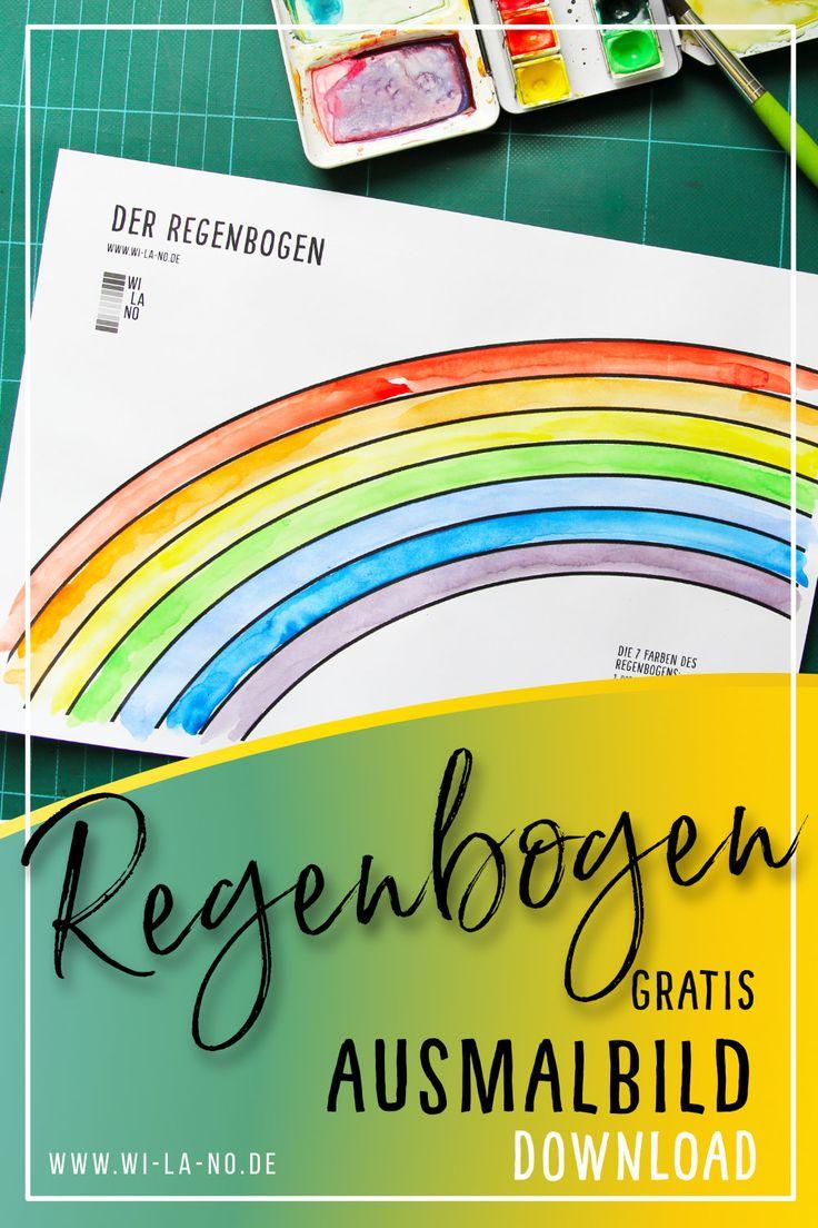 regenbogen ausmalbild download malvorlage digital in