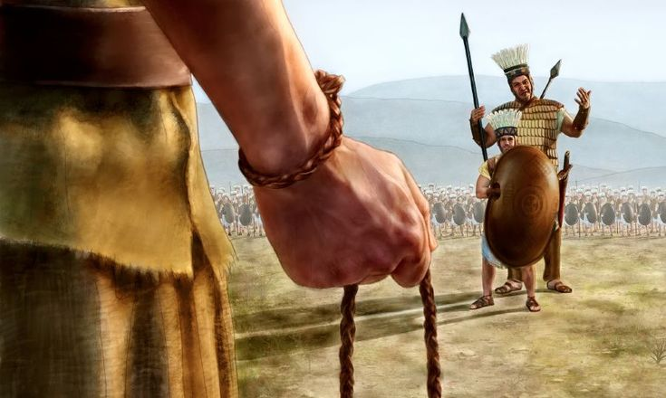 David goes out to meet Goliath and his armor-bearer