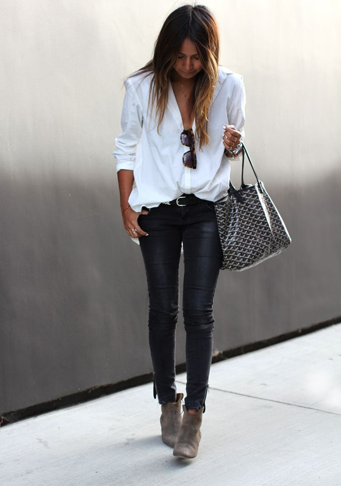 Anine Bing jeans, Silence & Noise shirt, Isabel Marant x H&M belt, Isabel Marant booties, Karen Walker sunglasses, Goyard bag.